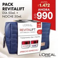 Pack L'Oréal Revitalift: Tratamiento Día + Noche + Bolsito de Regalo