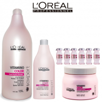 Pack Vitamino Color Loreal - Shampoo + Acondicionador + Mascara + Ampollas