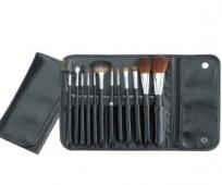 Set 12 Brochas de Maquillaje + Estuche Cuero Negro Cala