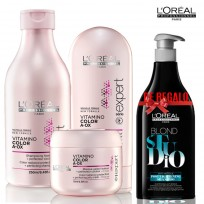 Pack L'Oréal Professionnel-  Shampoo Vitamino Color A-OX x 250 ml  + Acondicionador Vitamino Color x 150 ml + Máscara Vitamino Color A-OX x 200 ml + Shampoo Blond Studio Loreal DE REGALO!!