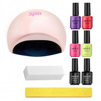 4 Esmaltes Semipermanentes Meliné + Base y Top Coat + Cabina Powerfull + Limas