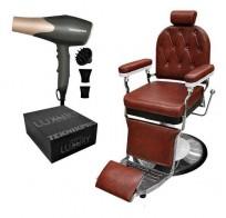 Combo Sillon Barbero Chester Marron + Secador Profesional Teknikpro