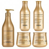 Pack 2 Shampoo x300 ml + 2 máscaras x250 ml + 1 shampoo x500 ml Absolut Repair Lipidium Chico Loreal